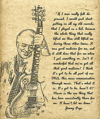 Jimmy Page Quote Art Print by Sara Pixel Pixie