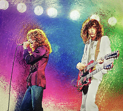 Digital Art - Jimmy Page - Robert Plant by Taylan Apukovska
