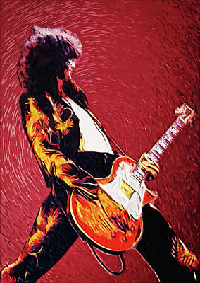Led Zeppelin Digital Art - Jimmy Page  by Taylan Apukovska
