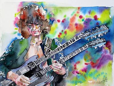 Painting - Jimmy Page - Watercolor Portrait by Fabrizio Cassetta