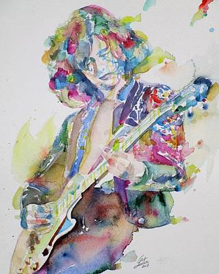 Painting - Jimmy Page - Watercolor Portrait.2 by Fabrizio Cassetta
