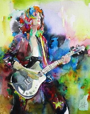 Painting - Jimmy Page - Watercolor Portrait.3 by Fabrizio Cassetta