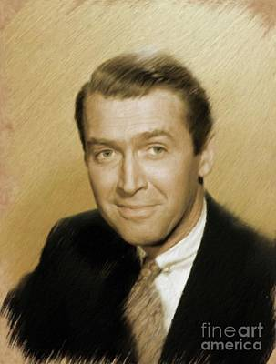 Painting - Jimmy Stewart, Vintage Actor by Mary Bassett