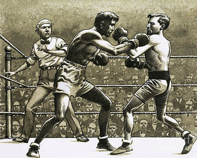 Jimmy Wilde Boxing Pancho Villa In New York Art Print by Pat Nicolle