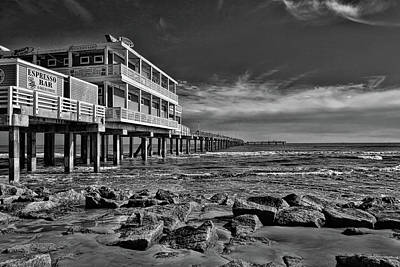 Photograph - Jimmy's On The Pier Black And White by Judy Vincent