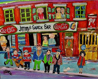 Painting - Jimmy's Snack Bar Crowd by Michael Litvack