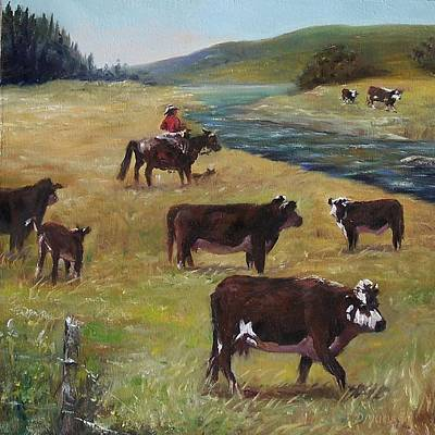 Painting - Jim's Cattle by Donna Munsch
