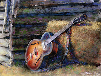 Pastel Mixed Media - Jim's Guitar by Andrew King