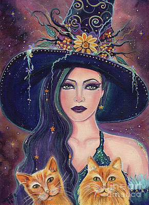Jinx And Jazz Halloween Witch With Kitties Art Print by Renee Lavoie