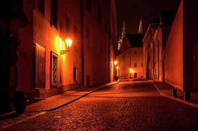 Photograph - Jirska Street In Night. St, Vitus Cathedral by Jenny Rainbow