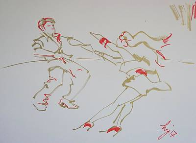 Drawing - Jive Dancing Couple by Mike Jory