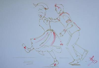 Drawing - Jivers Couple Fifties Style by Mike Jory