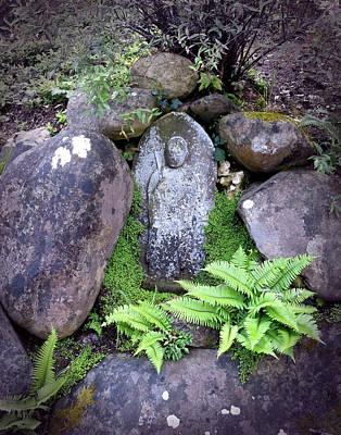 Jizo Buddha Among The Ferns Print by Laura Iverson