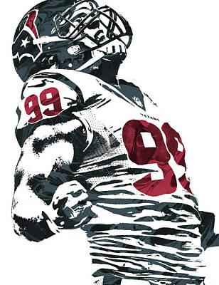 Football Mixed Media - Jj Watt Houston Texans Pixel Art 2 by Joe Hamilton