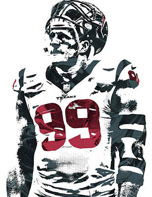 Mixed Media - Jj Watt Houston Texans Pixel Art 4 by Joe Hamilton