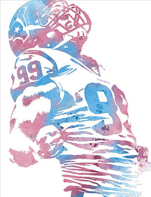 Mixed Media - Jj Watt Houston Texans Water Color Art 1 by Joe Hamilton
