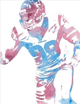 Mixed Media - Jj Watt Houston Texans Water Color Art 2 by Joe Hamilton