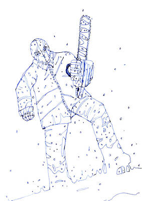 Grindhouse Painting - Jjr Comic Character A By Typhoonart by Joerg Federmann Typhoonart