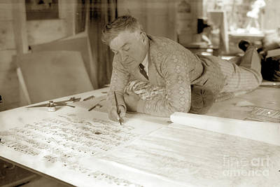 Photograph - Jo Mora Working On His California Carte 1927 by California Views Mr Pat Hathaway Archives