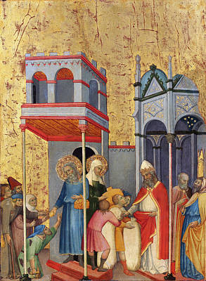 Medieval Temple Painting - Joachim And Anna Giving Food To The Poor by Andrea di Bartolo