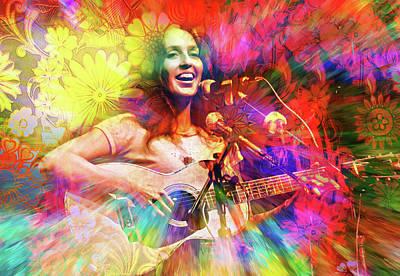 Joan Baez Digital Art - Joan Baez by Mal Bray