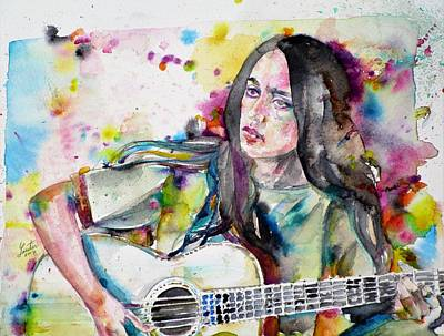 Painting - Joan Baez - Watercolor Portrait by Fabrizio Cassetta