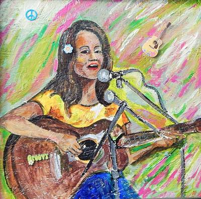 Liberal Painting - Joan Baez Woodstock On Wood #4 by Marvin Pike