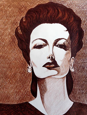 Sepia Ink Drawing - Joan Crawford As Mildred Pierce by Tara Hutton