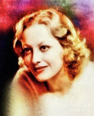 Joan Crawford Painting - Joan Crawford, Vintage Hollywood Actress by John Springfield