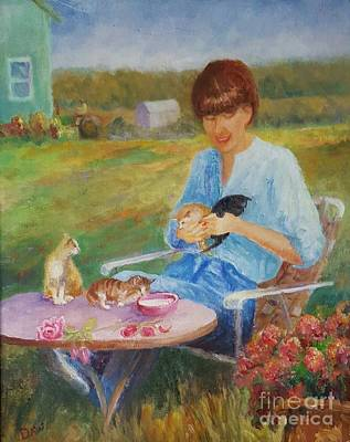 Petting Painting - Joan Feeding The Kittens by Dorothy Weichenthal