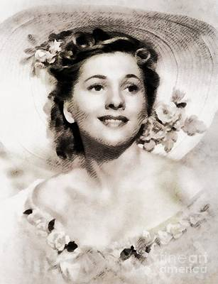 Fontaine Painting - Joan Fontaine, Vintage Actress By John Springfield by John Springfield