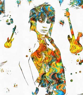 Music Mixed Media - Joan Jett Colorful Paint Splatter by Dan Sproul