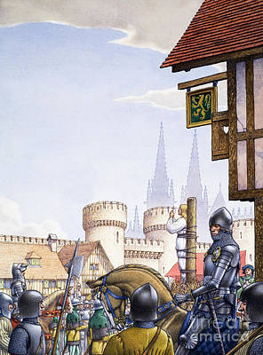 Knights Castle Painting - Joan Of Arc Burned At The Stake by Pat Nicolle