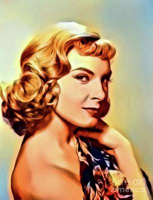 Joanne Woodward, Vintage Actress. Digital Art By Mb Art Print by Mary Bassett