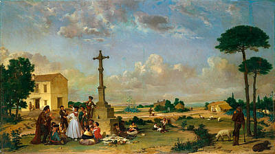 Beaches Painting - Joaquin Dominguez Becquer , Dance Outside A Country Inn 1867 by Artistic Rifki