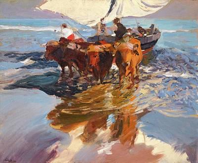 Ceramics Painting - Joaquin Sorolla 1863 - 1923   Vuelta De La Pesca. Playa De Valencia The Return From Fishing, Valenc by Artistic Rifki