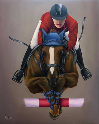 Painting - Jockey Jumping by Radoslav Nedelchev