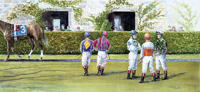Jockey Talk At Keeneland Print by Frank Lott