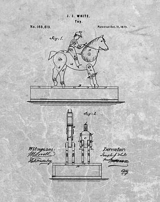 Animals Drawings - Jockey Toy Patent Charcoal by Dan Sproul