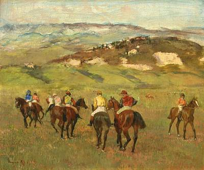 Horse Racing Painting - Jockeys On Horseback Before Distant Hills by Edgar Degas