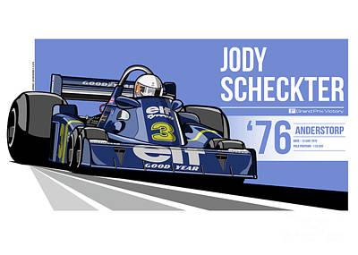 Digital Art - Jody Scheckter - 1976 Anderstorp by Evan DeCiren