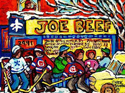 Painting - Joe Beef Rue Notre Dame Montreal Winter Scenes Hockey Paintings Canadian Art Carole Spandau          by Carole Spandau