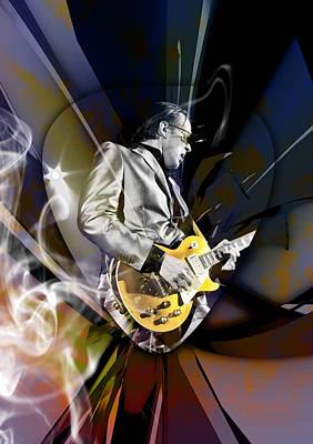 Mixed Media - Joe Bonamassa Blue Guitarist Art by Marvin Blaine