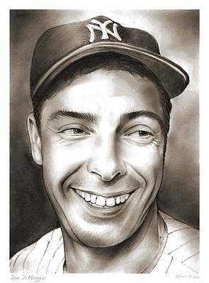 Sports Drawings - Joe DiMaggio by Greg Joens