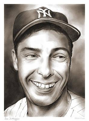Sports Drawings - Joe DiMaggio by Greg Joens