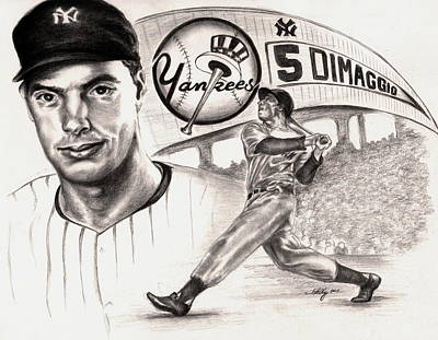 Baseball Drawing - Joe Dimaggio by Kathleen Kelly Thompson
