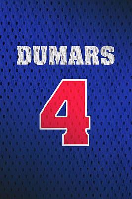 Closeup Mixed Media - Joe Dumars Detroit Pistons Number 4 Retro Vintage Jersey Closeup Graphic Design by Design Turnpike
