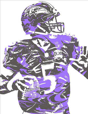 Raven Mixed Media - Joe Flacco Baltimore Ravens Pixel Art 5 by Joe Hamilton