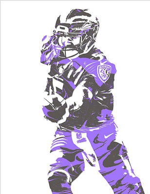 Mixed Media - Joe Flacco Baltimore Ravens Pixel Art 6 by Joe Hamilton