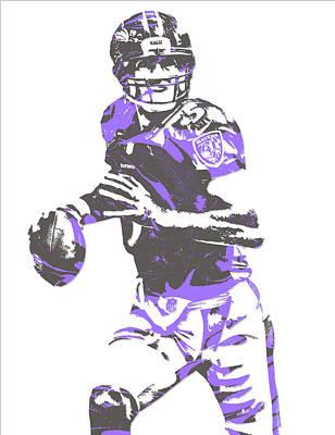 Raven Mixed Media - Joe Flacco Baltimore Ravens Pixel Art 7 by Joe Hamilton